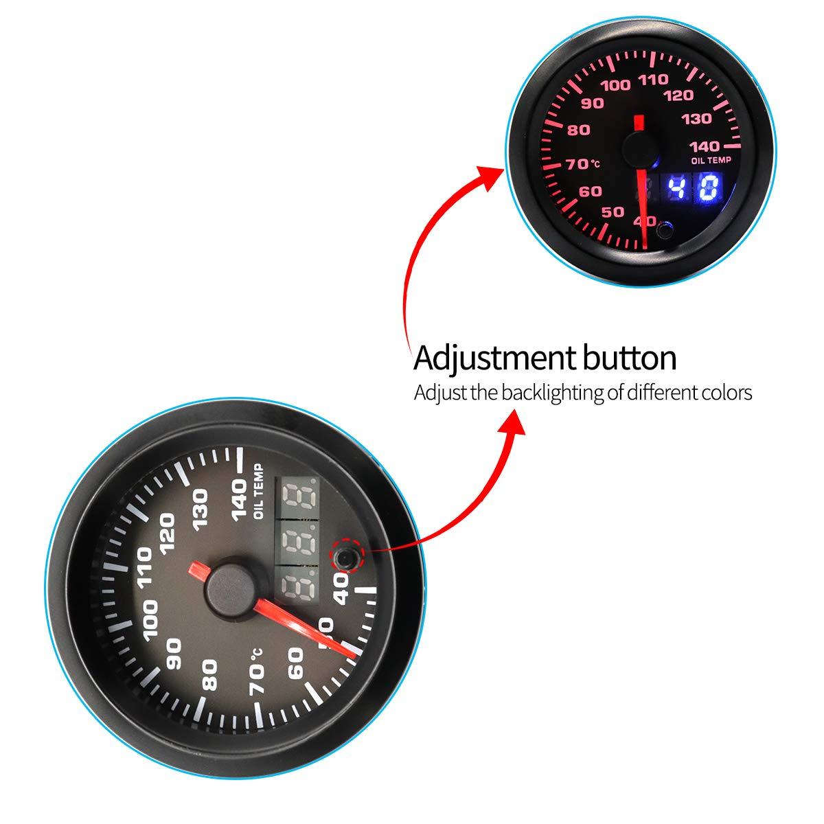Vosarea Modifizierte Auto-Instrument 12V-Hintergrundbeleuchtung einstellbar 40140 /Öltemperaturanzeige