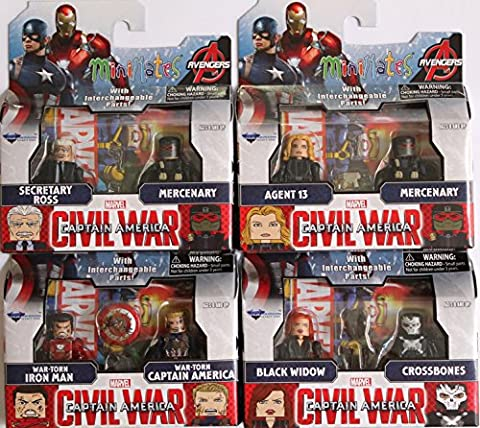 Marvel Minimates Series 67 Set of 4 Civil War 2 packs: Black Widow, Crossbones, War Torn Iron man & Captain America, Agent 13, Secretary Ross & Mercenary x (Marvel Minimate Black Widow)