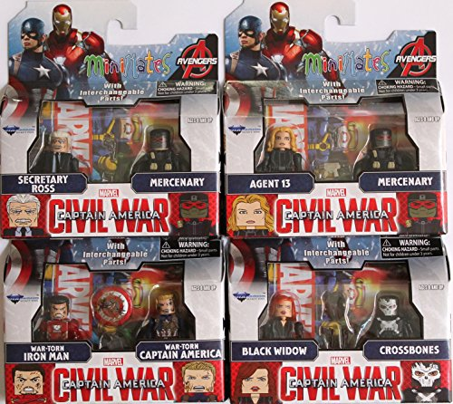 Marvel Minimates Series 67 Set of 4 Civil War 2 packs: Black Widow, Crossbones, War Torn Iron man & Captain America, Agent 13, Secretary Ross & Mercenary x 2