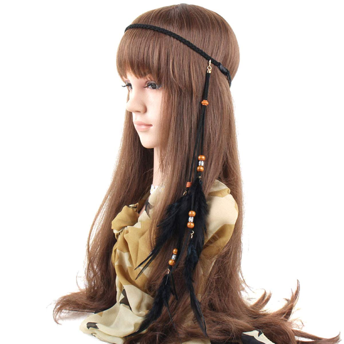 Hippie Indian Feather Headband Handmade Weave Feathers Hair Rope Headdress ET