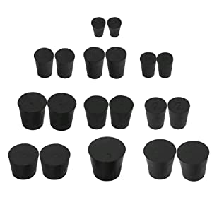 Anpatio 19PCS Tapered Solid Rubber Stopper Plug Laboratory Test Tube Bungs 10 Assorted Sizes 000# -7# Black