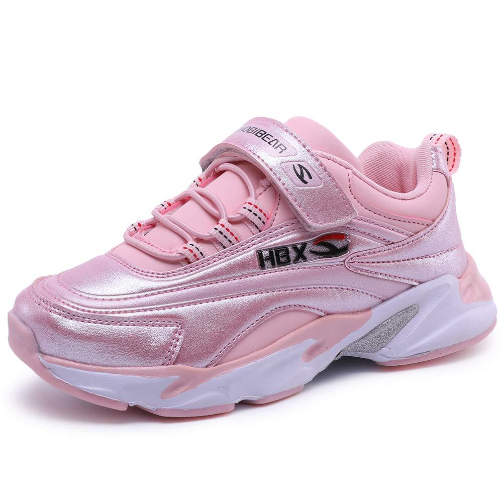 KIIU Girls Running Shoes Kids Tennis Shoes Sneakers for Boys Waterproof (Pink 1.5, Little Kid)