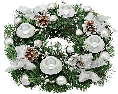 Silver Ribbon Christmas Advent Wreath - Advent Season Centerpiece Décor - Advent Candle Holder and X-mas Candles Decorations - Advent Calendar Season Decoration  -