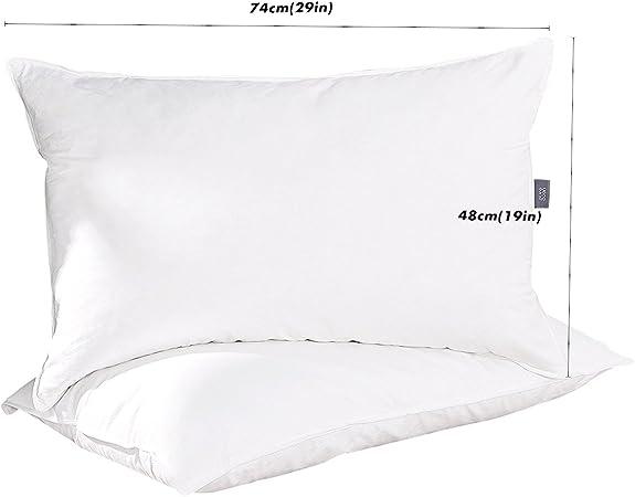 puredown® Almohadas Lavables Blancas Pack de 2 Almohada de Plumas ...