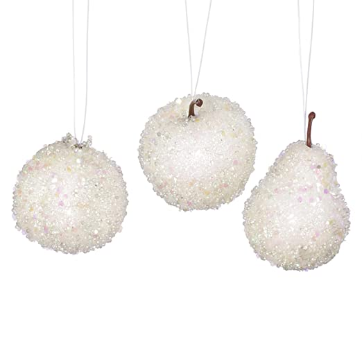 Christmas Tablescape Decor - White beaded and glittered frozen apple, pear, and pomegranate fruit Christmas ornaments - Set of 3