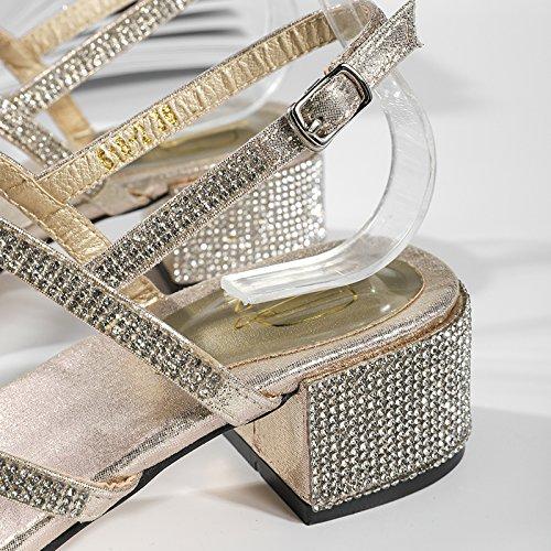 Golden Sandalias Moda de para de de Rhinestones Vacaciones Antideslizantes tirón Libre Verano Sandalias YMFIE con Mujer al de Aire PqgxwU