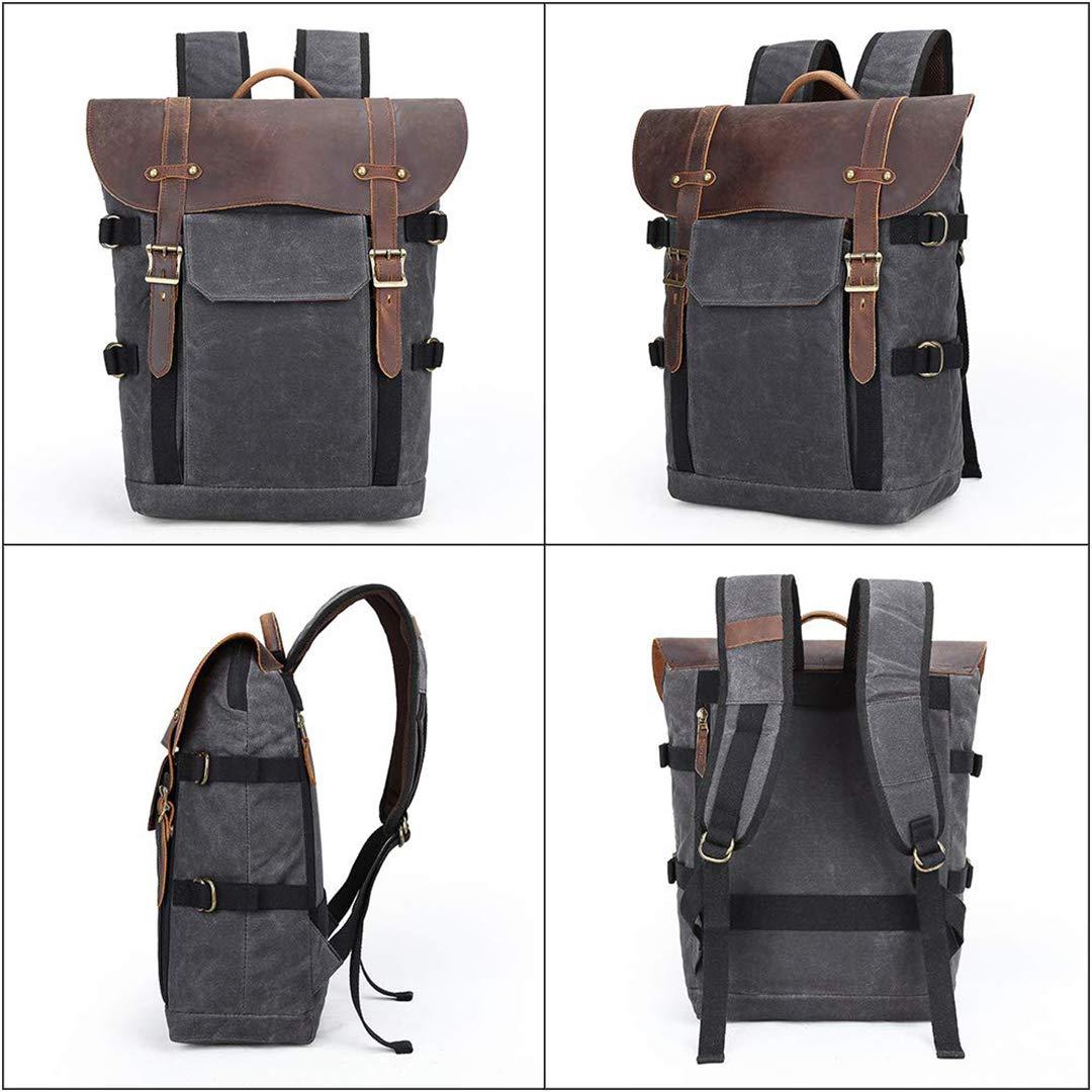 appareil photo SLR//DSLR grande capacit/é /étanche et anti-choc YWCY Sac /à dos pour appareil photo pour ordinateur portable sac /à dos de voyage en cuir de vachette v/éritable Kaki pour tablette de 16,5 cm
