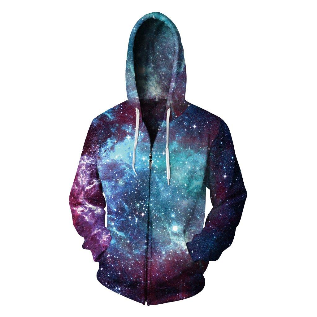 AMOMA New 3D Digital Print Athletic Zip with Thin Velvet Sweaters Hoodie Sweatshirts