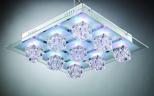 Deckenleuchte mit Glaswürfel 41x41 cm Halogen mit LED farbwechsel ...