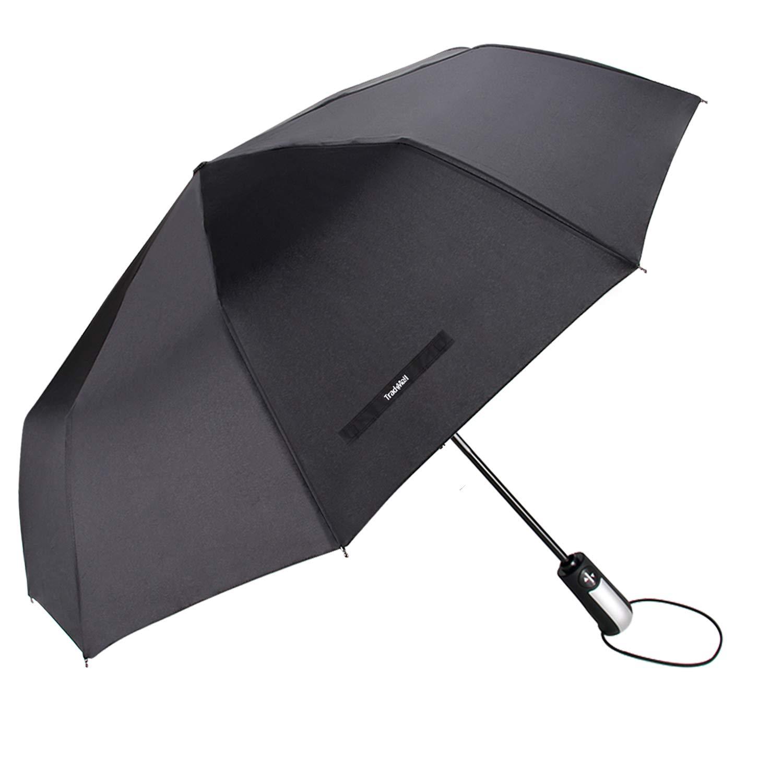 TradMall Travel Umbrella with 10 Reinforced Fiberglass Ribs 42'' Large Canopy Ergonomic Handle Auto Open & Close, Black by TradMall (Image #8)