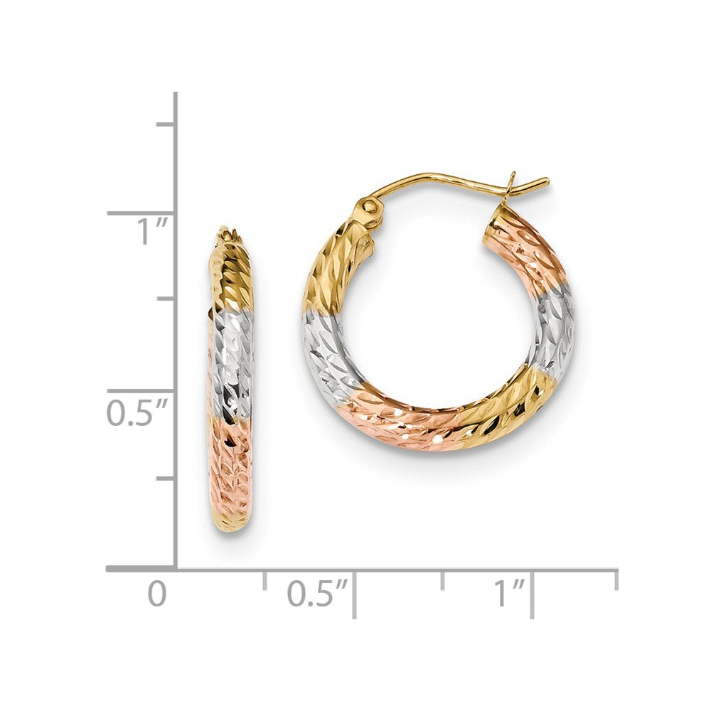 Mia Diamonds 14k Yellow Gold with White and Rose Rhodium Polished and Diamond-Cut Hoop Earrings