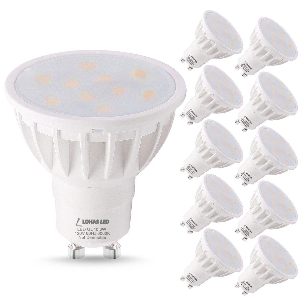 LOHAS GU10 LED Light Bulbs, 50 Watt Light Bulb Equivalent Recessed Lighting, LED 6W 3000K Soft White Lights, 120 Degree Beam Angle, 120V LED Track Lighting Spotlight (10 Pack) GK Lighting