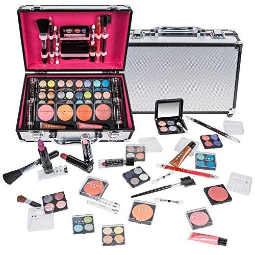 SHANY Carry All Makeup Train Case with Pro Makeup and Reusable Aluminum Case - Silver ()