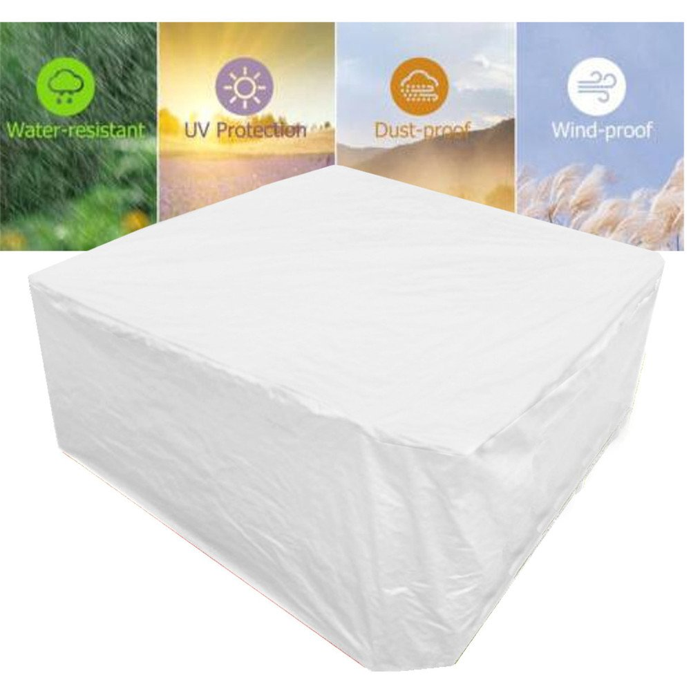 79''x79''x35'' Silvery Waterproof Weatherproof Hot Tub Spa Cover  Furniture Outdoor Outside Cover Protection Canopy Awning Cloth Shade Sun Patio Garden Table Chair