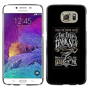 LECELL--Funda protectora / Cubierta / Piel For Samsung Galaxy S6 SM-G920 -- Deep Dark Sea Black Poster Text --