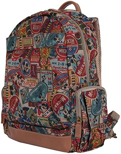 ililily X Disney Vintage Mickey Mouse Pattern Mesh Multi-purpose Backpack Rucksack