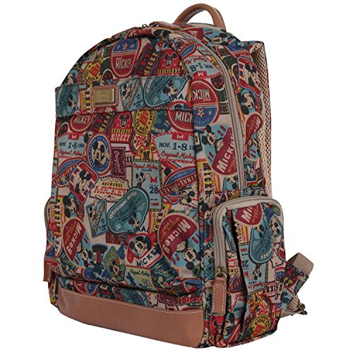 Mouse Pattern - ililily X Disney Vintage Mickey Mouse Pattern Mesh Multi-purpose Backpack Rucksack, Brown