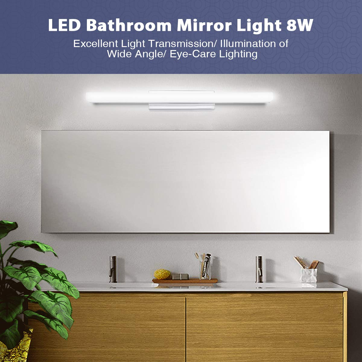 LED Mirror Light SOLMORE Bathroom Makeup Front Lighting Mirror Headlight Energy-Saving Wall Lamp 8W|40CM|IP44|6000K|700LM|Stainless Steel Base for Bathroom Mirror Cabinet Picture Wall Vanity