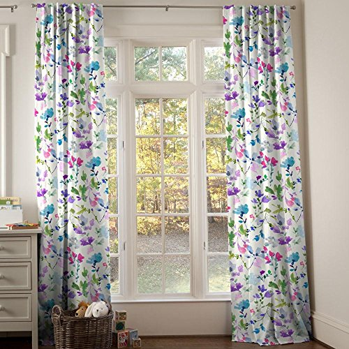 Carousel Designs Bright Wildflower Drape Panel 96-Inch Length Standard Lining 42-Inch Width by Carousel Designs