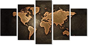 5 Pieces Vintage World Map Black Background Canvas Print Abstract Antique Map Retro World Map Wall Artwork Painting Poster Old Map Wall Art Set for Living Room Wall Decor