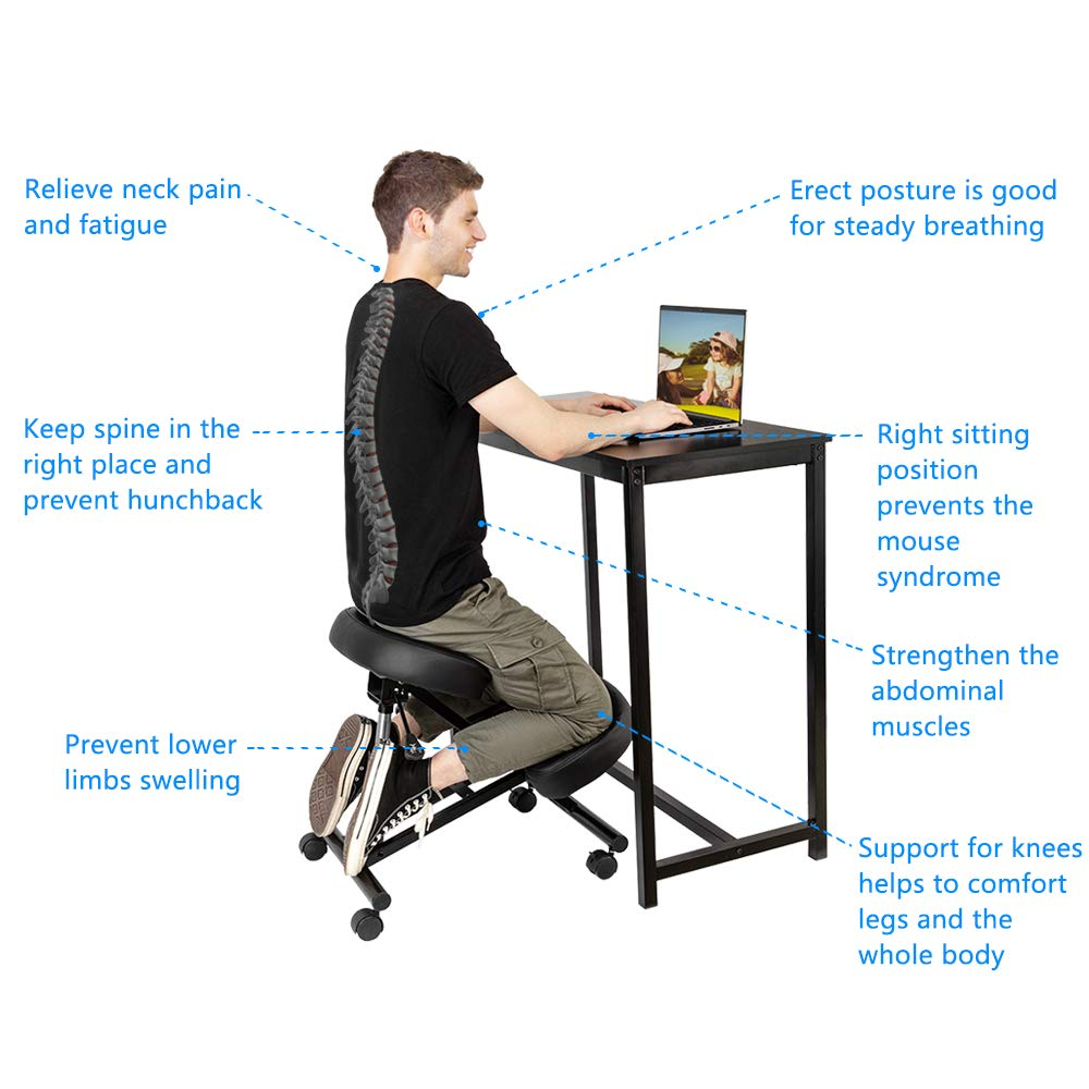 OMECAL Kneeling Chair Adjustable Stool for Home and Office Lockable Casters /& Pneumatic Rod Adjustable Height Improve Posture Angled Seat Neck /& Back Pain Relief with Thick Comfortable Cushion