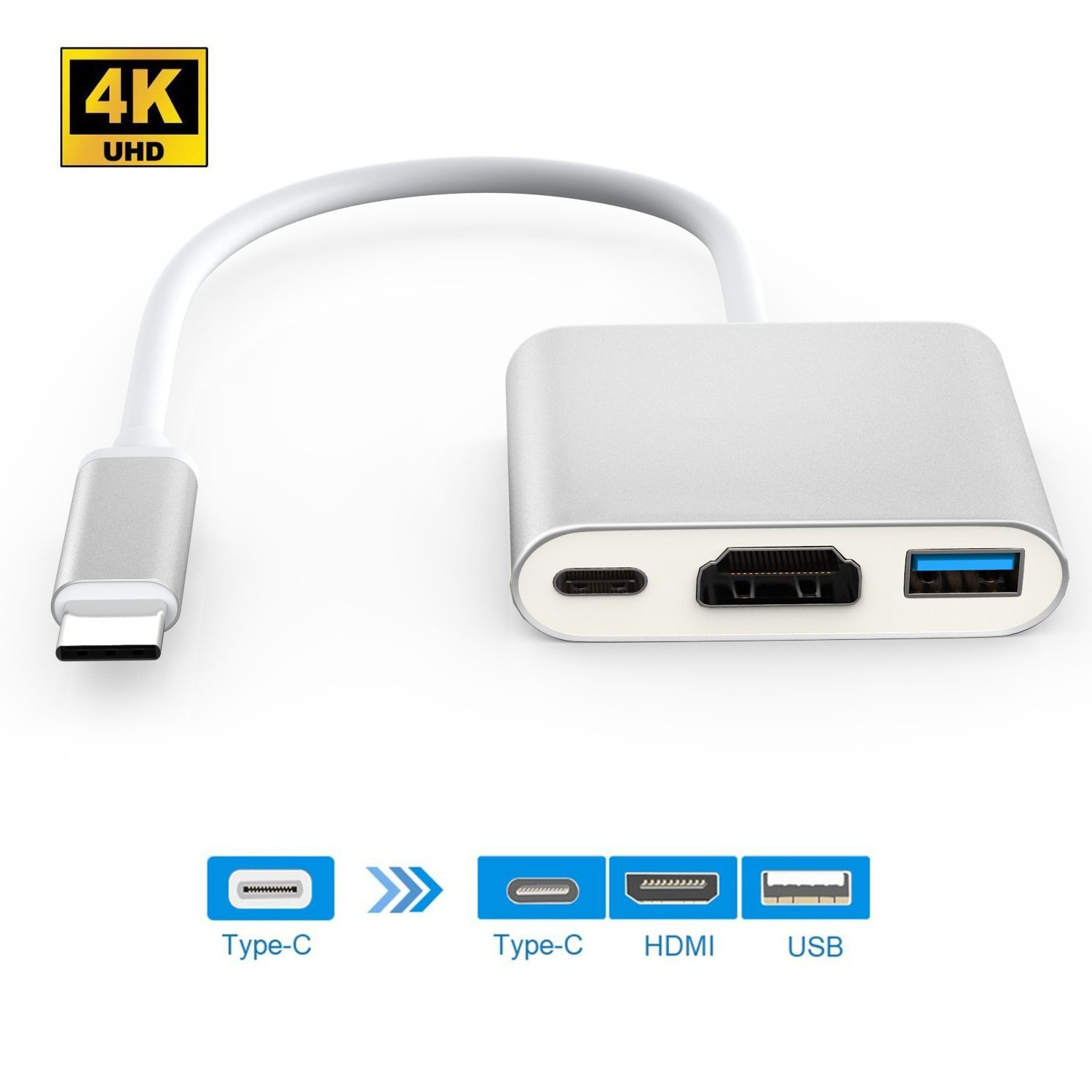 USB-C to HDMI Adapter 4K, HuDieM USB 3.1 Type C to HDMI Multiport AV Converter with USB 3.0 Port and USB C Charging Port for Macbook/ Chromebook Pixel/ Dell XPS13/ Samsung Galaxy s8/s8 Plus (Silver)