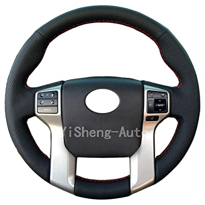 Eiseng Steering Wheel Cover for 2012-2020 Toyota Tacoma 2014-2020 Tundra 2014-2020 Sequoia 2010-2020 4Runner Stitch On Wrap Interior Accessories DIY Black Microfiber Leather (Red thread): Automotive