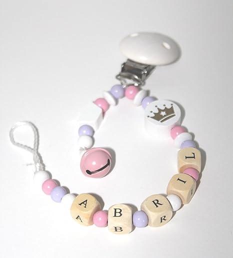 Sujetachupete personalizado con nombre. Cadena chupete con nombre del bebe. Ideal para bautizo o regalo individual. MODELO CORONA BLANCA 34: Amazon.es: Bebé