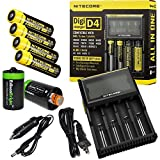 Nitecore D4 Digicharge universal home/in-car battery charger, Four Nitecore 18650 NL183 2300mAH rechargeable batteries with 2 X EdisonBright AA to D type battery spacer/converters