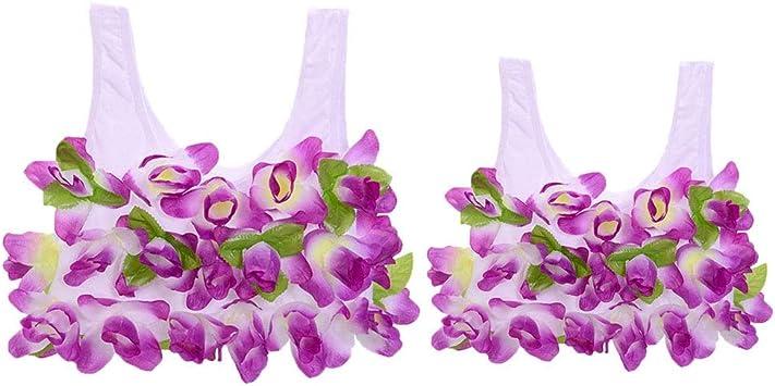 Haobing Mujer Niñas Camisole Disfraces Hawaiana Luau Hula Flower ...