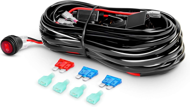 12V30A Relay and 18AWG 9FT Length for LED Light Bar//Driving Light//Fog Light and Pods Light Work Light Wiring Harness Kits Blue Switch