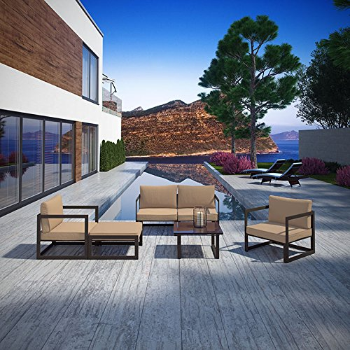 Modway Fortuna 6-Piece Aluminum Outdoor Patio Sectional Sofa Set in Brown Mocha