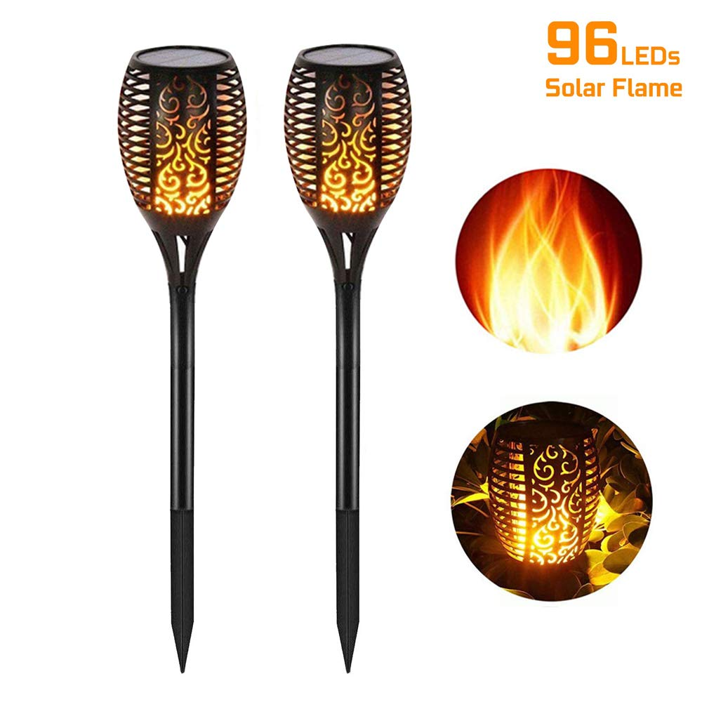CRTING Solar Lights Outdoor Upgraded Waterproof Flickering Flames Tiki Torch Lights LED Lamps Auto On/Off Security Spotlights Landscape Decoration Lighting for Driveway Patio Pathway (Black, 2 Packs) by CRTING