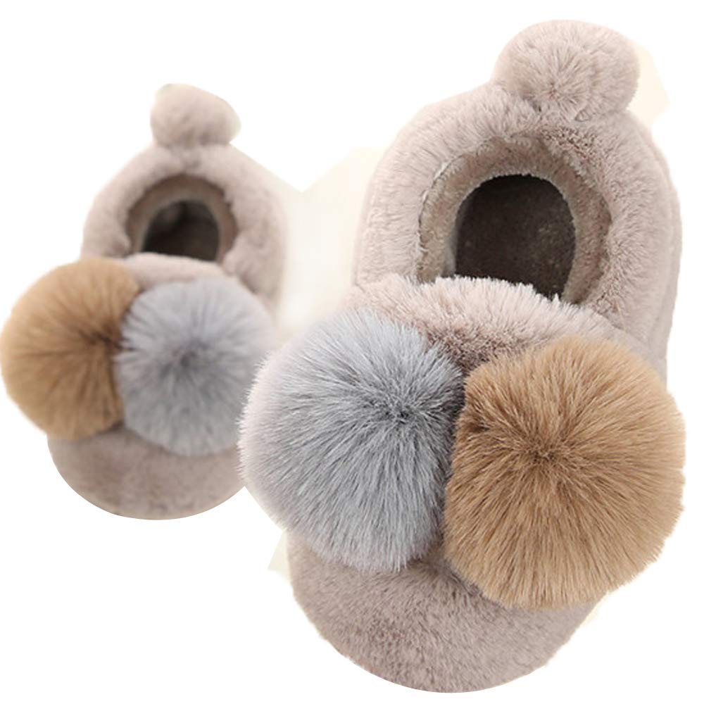 Toddler Girls Slippers With Backs indoor outdoor Warm Plush Booties Home Shoes