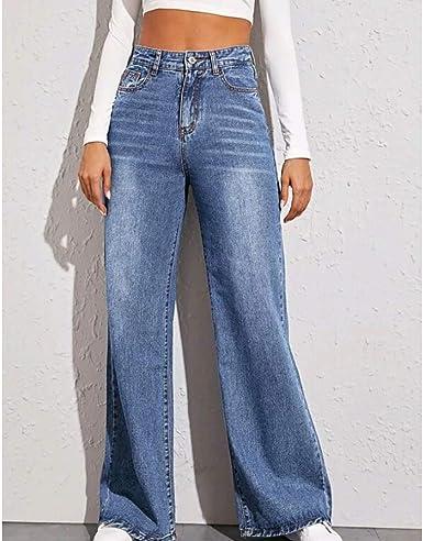 Sukdo Pantalones De Pierna Ancha De Cintura Alta Jeans Rectos De Algodon Para Mujer Pantalones De Mezclilla De Cintura Alta Elasticos Retro Elasticos Amazon Es Ropa Y Accesorios