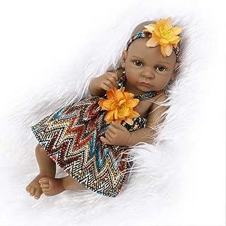 FEIFEIJ Full Vinyl in Silicone Corpo Reale Toccare Bambino Realistico rinato Bambole Realistico Neonato Bambola Nero Etnico Addormentato Ragazza Nativa Stile Indiano,Girl