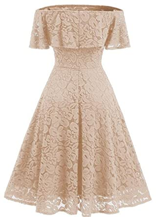 JXG-Women Vintage Style Floral Lace Ruffle Cocktail Evening Prom Dress Apricot US XS