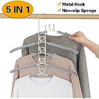 MEYUEWAL Cintres Porte-Manteaux Multicouche Anti-Glisse pour Garde-Robe 5 en 1 vêtements de Rangement pour Adultes en métal
