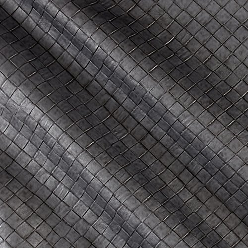 (Plastex Fabrics Faux Leather Tile Basketweave Silver Fabric By The Yard)