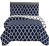 Meridian- Navy with White- Twin/Twin XL Size (68''x90'') Over-Sized Quilt 2pc set, Luxury Microfiber Printed Coverlet by sheetsnthings