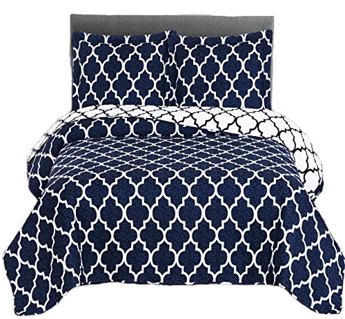 Royal Tradition Meridian Printed Microfiber Over-Sized Full/Queen 92-Inch Wide x 96-Inch Long, 3PC Quilt Set, Navy with White