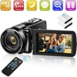 Video Camera Camcorder Digital YouTube Vlogging Camera Recorder GOXMGO 1080P 24.0MP 18X Digital Zoom Camcorder with IR Night Vision and Remote Control (2 Batteries)