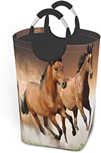 EJudge Collapsible Laundry Baskets, Dirty Laundry Hamper, Horse Couple Run, Colapsable Laundry Basket with Metal Handles, Dorm Collaspable Laundry Basket Fabric for Camp Travel Kids Baby Girl Boy
