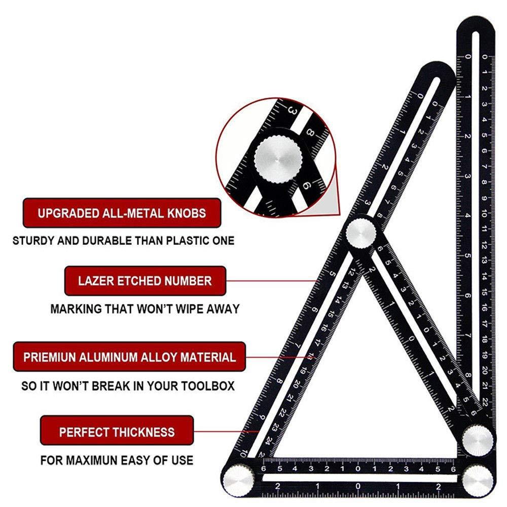 Righello per misurazione multi angolo Righello di misurazione per layout universale in lega multiuso Strumento di riparazione Strumento modello