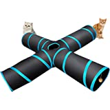 4 Way Cat Tunnel, Lachesis Pet Cat Dog Toys Tunnel Tube, Large indoor outdoor Play Toy Tunnel for Cats Dogs Puppy Rabbits, with a Bell & a Soft Ball
