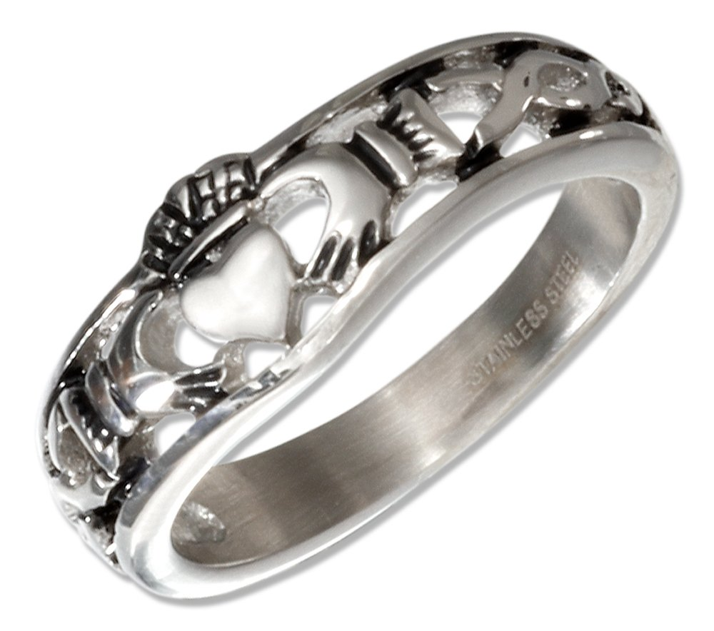 Stainless Steel Irish Claddagh Band Ring (size 09)
