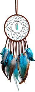 Dream Catcher -Indian Dream Catchers of Bedroom Home Hanging Decor is Handmade Decorations for Bedroom Boys/Girls/Kids Room/Balcony/Living Room/Wedding(Turquoise-Blue 20.5x5.1in