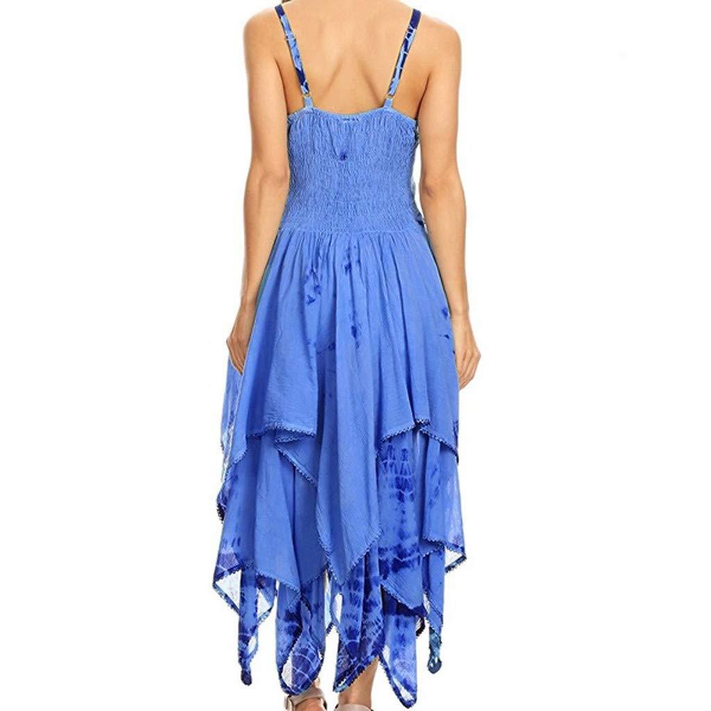 Kiminana Vintage Hem Dress,Summer Women's Printed Irregular Dress tie-Dyed Suspender Dress Blue