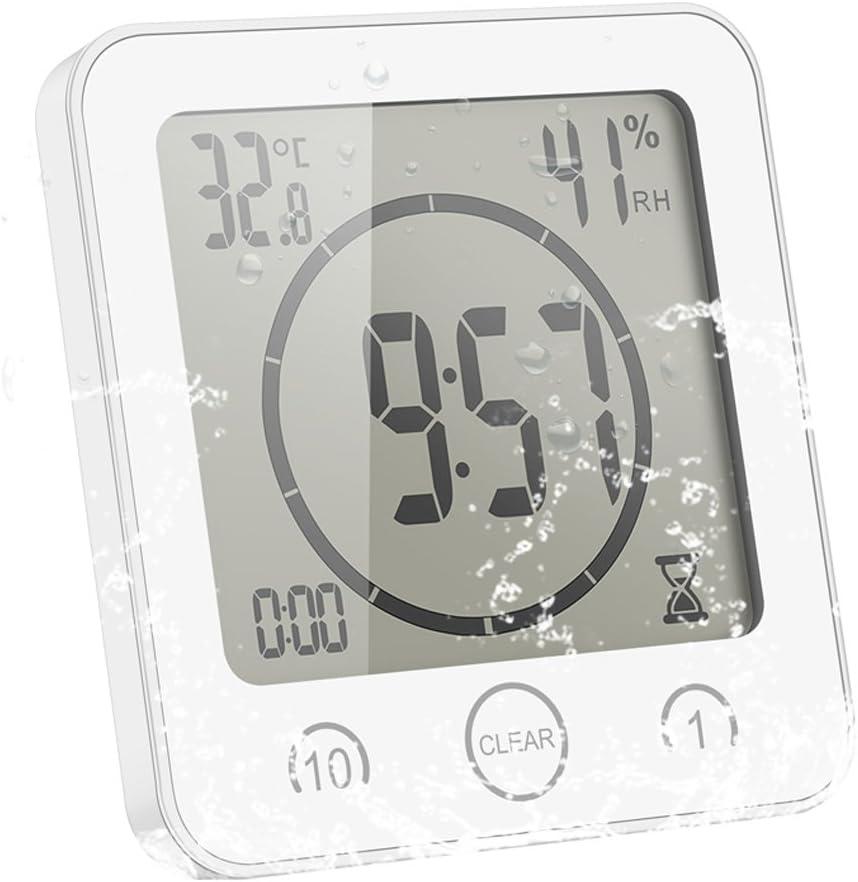 ALLOMN Reloj de Baño, LCD Reloj de Ducha Digital Alarma Impermeable Control Táctil Hum / ℉ Temperatura Humedad, Temporizador de Cuenta Regresiva, 3 Métodos de Montaje, Energía de la Batería (Blanco)