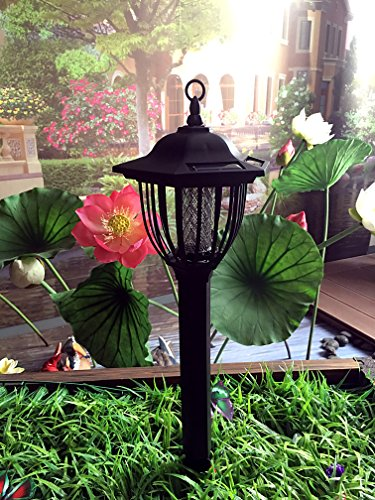 (Solar Powered Electric Bug Light Zapper- Outdoor Cordless Flying Insect Killer- 8 Hour Operation- Beautiful Garden Lamp- Portable LED Machine- Best Stinger for Mosquitoes/Moths/Flies & More (Black) )